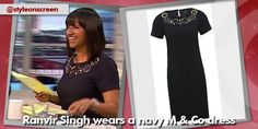 Want to know where Ranvir Singh got her navy dresson Good Morning Britain? Style on Screen can tell you. Good Morning Britain, Navy Dress, Shirt Dress, How To Wear, Shirts, Dresses, Style, Fashion, Vestidos