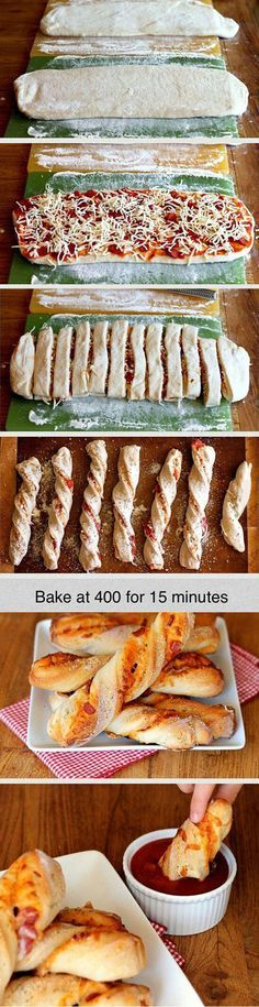 Dippable Pizza Sticks, looks easy and yummy. Maybe use pre-made canned pizza dough for extra ease