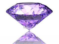 Purple diamond on  white background  with reflection Stock Photo