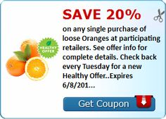 Save 20% on any single purchase of loose Oranges at participating retailers. See offer info for complete details. Check back every Tuesday for a new Healthy Offer..Expires 6/8/2015.Save 20%.