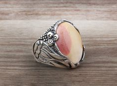 925 K Sterling Silver Gemstone Man Ring With Natural Agate Stone $18.09