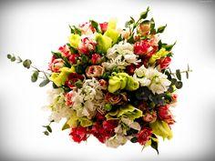 Bukiet, Róże, Frezje, Lewkonie