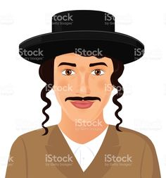 Jewish man face portrait with hat and mustache in a black suit. Jerusalem. Israel. Vector Illustration isolated on white background. Сток Вектор Стоковая фотография