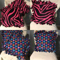 pattern fleece pillows with fringe edges
