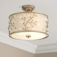 Beige fabric drum shade with pretty flower pattern. Shade is wide x 7 high. Frosted glass diffuser is wide at the bottom. Drum Ceiling Lights, Semi Flush Ceiling Lights, Flush Mount Ceiling, Flush Mount Lighting, Ceiling Light Fixtures, Entry Lighting, Ceiling Lamp, Ceiling Light Design, Modern Ceiling