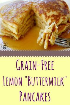 "Grain Free Lemon ""Buttermilk"" Pancakes! Seriously the fluffiest grain free pancakes I've had!"