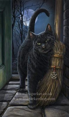 Black Cat Wall Plaque Art Print Lisa Parker Brush With Magick - Black Cat with Broom Besom Crazy Cat Lady, Crazy Cats, I Love Cats, Cute Cats, Black Cat Art, Black Cats, Photo Chat, Witch Art, Halloween Cat