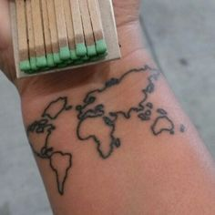 One day our wrists will match. Love my world map tattoo!