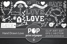 Check out Hand Drawn Love - 65 Vector Icons by POP print on paper on Creative Market