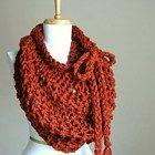 katniss cowl shawl | Infinity Scarf Pumpkin Orange Hand Knit Chunky Textured Pattern ...