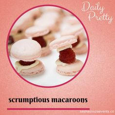 Daily Pretty: Scrumptious Macaroons - http://sparkliatti.com/2014/04/daily-pretty-scrumptious-macaroons/ - Daily Pretty: Scrumptious Macaroons. Yummy raspberry macaroons with whole raspberries. #iwannaeatthat #yummyfood #dessert #traypass