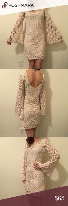 FREE PEOPLE Crochet Knit Bell Long Sleeve Dress Free People gorgeous tan Crochet Knit dress with Bell sleeves and a low cut back. Lined and is a size medium. Worn only a few times in great condition! Free People Dresses Long Sleeve