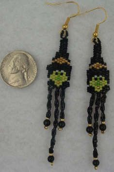 Beaded Halloween Witch earrings with twisted fringe.