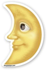 First Quarter Moon with Face | Emoji Stickers