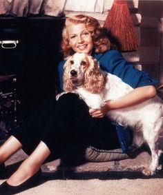 Redhead Rita Hayworth's Cocker Spaniel Pookies matches her perfectly! Old Hollywood Stars, Old Hollywood Glamour, Hollywood Actor, Vintage Hollywood, Classic Hollywood, Hollywood Divas, Hollywood Actresses, Rita Hayworth, James Herriot