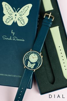 Add wrist art to your holiday wish list and drop hints to your loved ones about this enchanting and elegant Butterfly Watch by Dial. Interchangeable cream and navy coloured bands make it a versatile accessory that pairs beautifully with classic jewelry and bracelets.