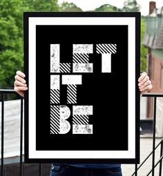 "Typography Print Motivational Wall Decor ""Let It Be"" Letterpress Poster Style Minimalist Home Decor Word Art Beatles Lyrics Summer Trends"