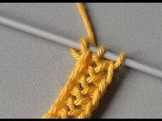 - Knitting - BANDS: Ear of ribbon Ribbon continuously knitted with two stitches and two envelopes. This ear or witch mesh ribbon is s Crochet I Cord, Single Crochet Stitch, Crochet Stitches Patterns, Knitting Stitches, Knit Crochet, Lace Knitting Patterns, Fabric Yarn, Knitted Headband, Crochet Videos