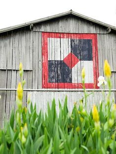 Take a scenic drive to discover these roadside gems-colorful quilt designs painted on barns-and to enjoy the countryside. Barn Quilt Designs, Barn Quilt Patterns, Quilting Designs, Country Barns, Old Barns, Country Life, Tie Quilt, Quilt Art, Painted Barn Quilts