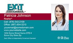 Exit Business Cards - EXIT-BC-016 - With Photo, Compact,  Medium Size Photo, Blue Red White