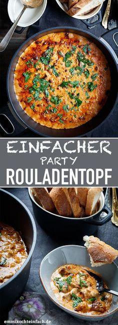 Einfacher Party Rouladentopf à la Ute | Ein Rezept um 10 oder mehr Gäste wirklich ganz unkompliziert zu verwöhnen. Denn alle Zutaten kommen in einen großen Topf oder Kasserolle, ab in den Ofen und fertig. Ideal für viele Anlässe wie Deine nächste Feier, Party, Geburtstage, Silvester, Weihnachten oder andere große Familienfeiern |#ofensuppe#partyessen #rinderrouladen#rouladentopf#rouladen #gäste#rezept#einfachkochen| emmikochteinfach.de