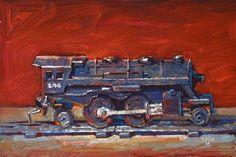 "Daily Paintworks - ""Scott's Lionel Train Engine"" by Raymond Logan"