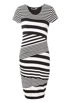 Stripe Jersey Perspective Dress - Bailey44