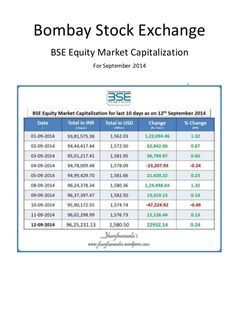 Bombay Stock Exchange Equity Market Capitalization for September 2014 by  https://www.linkedin.com/company/jhunjhunwalas