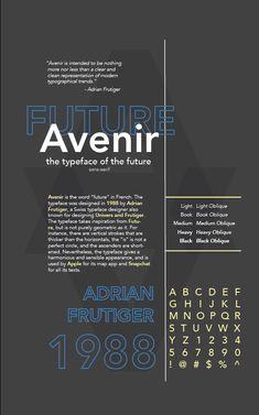 Avenir: Typeface Specimen Poster Project – Communication Design ... Brochure Design Layouts, Poster Design Layout, Event Poster Design, Poster Design Inspiration, Typography Inspiration, Graphic Design Posters, Graphic Design Typography, Poster Fonts, Type Posters