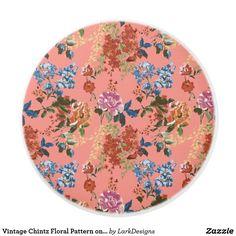 Vintage Chintz Floral Pattern on Coral Background Ceramic Knob