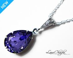 Wedding Bridesmaids Gift Necklace Swarovski Tanzanite Violet Pear Crystal Rhinestone 925 Sterling Silver Cubic Zirconia FREE US Shipping