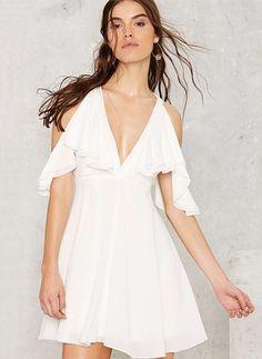 Little White Dress-----------------------------Chiffon Solid Half Sleeve Mini Sexy Dresses Sexy Dresses, Off White Dresses, Dresses For Less, Little White Dresses, Short Sleeve Dresses, White Flare Dress, White Mini Dress, Chiffon Shoulder, Cold Shoulder Dress