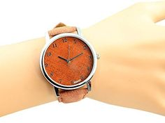 Soulvin Women Unisex Retro Denim Charm Bracelet Big Face Wrist Quartz Watch Brown *** Check this out by going to the link at the image.