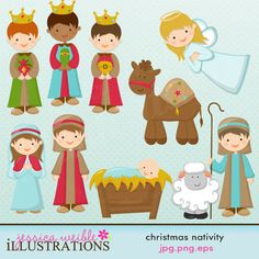 Christmas Nativity Cute Digital Clipart for Card Design, Scrapbooking, and Web Design