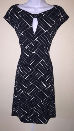Ann Taylor Black Ivory Print Keyhole Front Stretch Knit Dress Size 10 | eBay