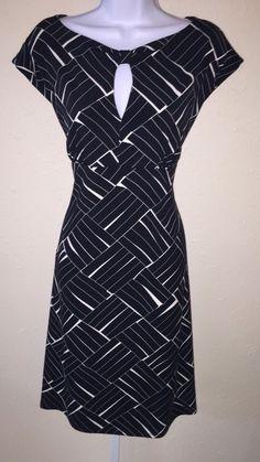 Ann Taylor Black Ivory Print Keyhole Front Stretch Knit Dress Size 10   eBay