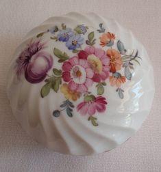 Nymphenburg Lidded Box Handpainted Porcelain Floral Swirled Vintage 082517CM