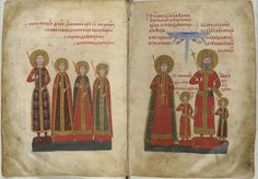 Royal portraits: f. 2v: Constantine, the son-in-law of Ivan Alexander, flanked by three daughters of the tsar: Kerathamar (Constantine's wife), Keratsa and Desislava; f. 3r:  Ivan Alexander in imperial garb, accompanied by his wife Theodora, his son Ivan Shishnan in imperial garb, and another son Ivan Asen. Above, two hands emerge from a cloud, making gestures of blessing over the Tsar and his wife, from the Gospels of Ivan Alexander, Bulgaria, 1355-1356,  Add MS 39627, ff. 2v-3r