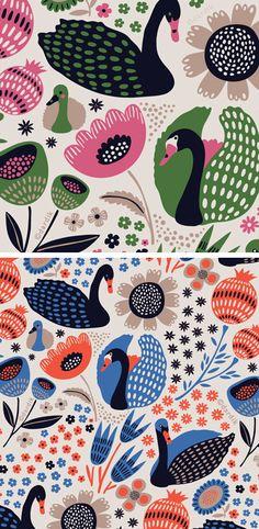 Orange you lucky. Pattern - Swan song - designed by Helen Dardik Pretty Patterns, Beautiful Patterns, Surface Pattern Design, Pattern Art, Inchies, Illustrator, Motif Vintage, Art Nouveau, Art Deco