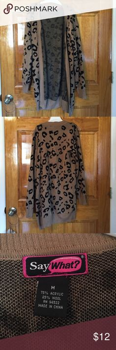 Cheetah Cardigan Cheetah print sweater cardigan. Perfect for winter & very stylish. Size medium! In excellent condition! Fits like M/L Sweaters Cardigans