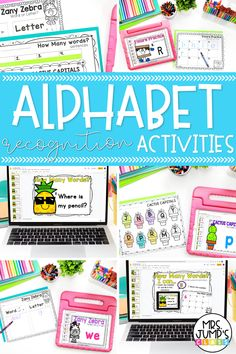 Looking for fun kindergarten literacy centers students can use to master early literacy skills like concepts of print and letter recognition? These alphabet recognition activities are a great choice! These digital activities for kindergarten also include activities for counting words in a sentence to help students beginning making the connection to print.
