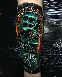 Rate This Neon Skull Tattoo 1 to 100 Unique Tattoo Designs, Unique Tattoos, Beautiful Tattoos, Cool Tattoos, Amazing Tattoos, Neon Tattoo, Make Tattoo, Tattoo On, Skull Tattoos