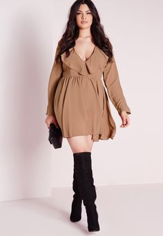 Missguided - Plus Size Frilly Swing Dress Nude