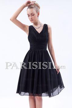 Sleeveless Black Chiffon Knee-length A-line V-neck Classic Elegant Zipper Prom/Bridesmaid/Cocktail Dress price USD $119 - PARISISI ONLINE DISCOUNT SHOP