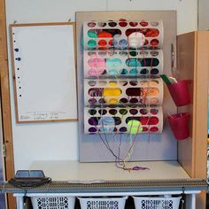 Materials: Rationell Variera, old cupboard doorDescription: I live in a room in a shared house and like to do yarnbombing. My old setup was basically a perpetua