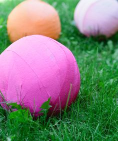 Giant surprise balls for an outdoor party.