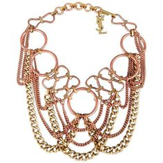 Pre-owned YVES SAINT LAURENT Copper & Gold Tone Chains Chocker... ($350) ❤ liked on Polyvore featuring jewelry, necklaces, choker necklaces, yves saint laurent, choker necklace, choker jewelry, chain jewelry and pre owned jewelry