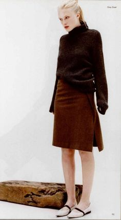 Jil Sander sweater, skirt, and shoes, 1997