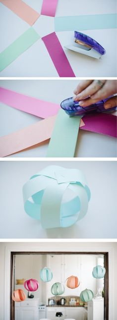 Pretty Paper Party Balls a bunch of these clumped altogether in one color would look great for cheap decor! The post Pretty Paper Party Balls appeared first on Paper Diy. Ramadan Decorations, Diy Party Decorations, Birthday Decorations, Paper Decorations, Origami Decoration, Paper Garlands, Diy And Crafts, Crafts For Kids, Paper Crafts