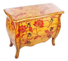 Home Reflections Natural & Red Bombe Chest w/3 Drawers - QVC.com